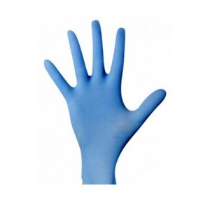 Gumi kesztyű kék púder mentes Nitril